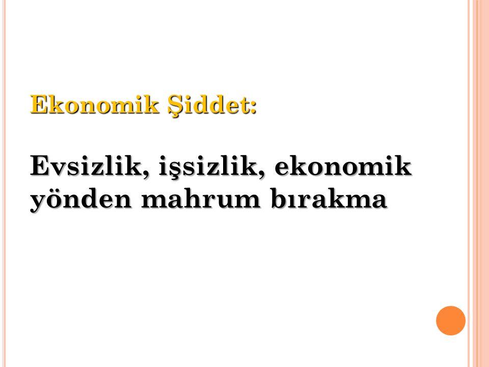 Ekonomik Şiddet: Evsizlik, işsizlik, ekonomik yönden mahrum bırakma