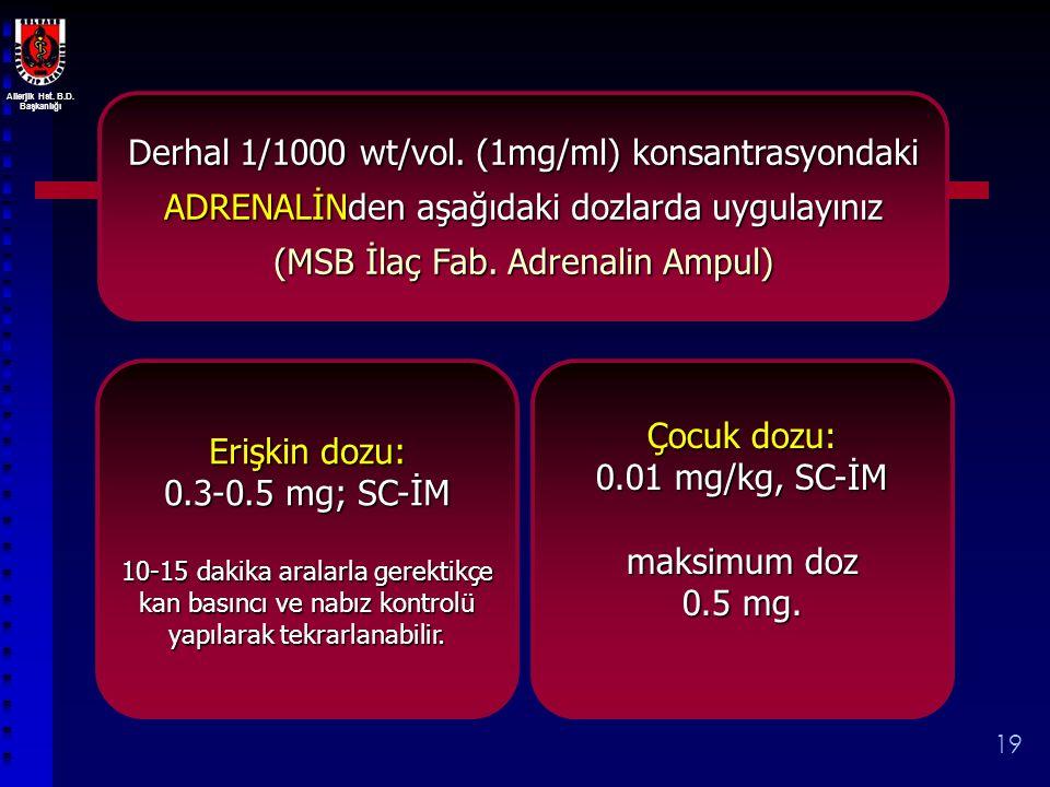 Allerjik Hst. B.D. Başkanlığı 19 Derhal 1/1000 wt/vol. (1mg/ml) konsantrasyondaki ADRENALİNden aşağıdaki dozlarda uygulayınız (MSB İlaç Fab. Adrenalin