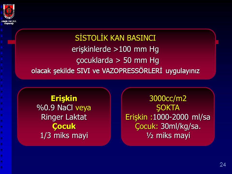 Allerjik Hst. B.D. Başkanlığı 24 SİSTOLİK KAN BASINCI erişkinlerde >100 mm Hg çocuklarda > 50 mm Hg çocuklarda > 50 mm Hg olacak şekilde SIVI ve VAZOP