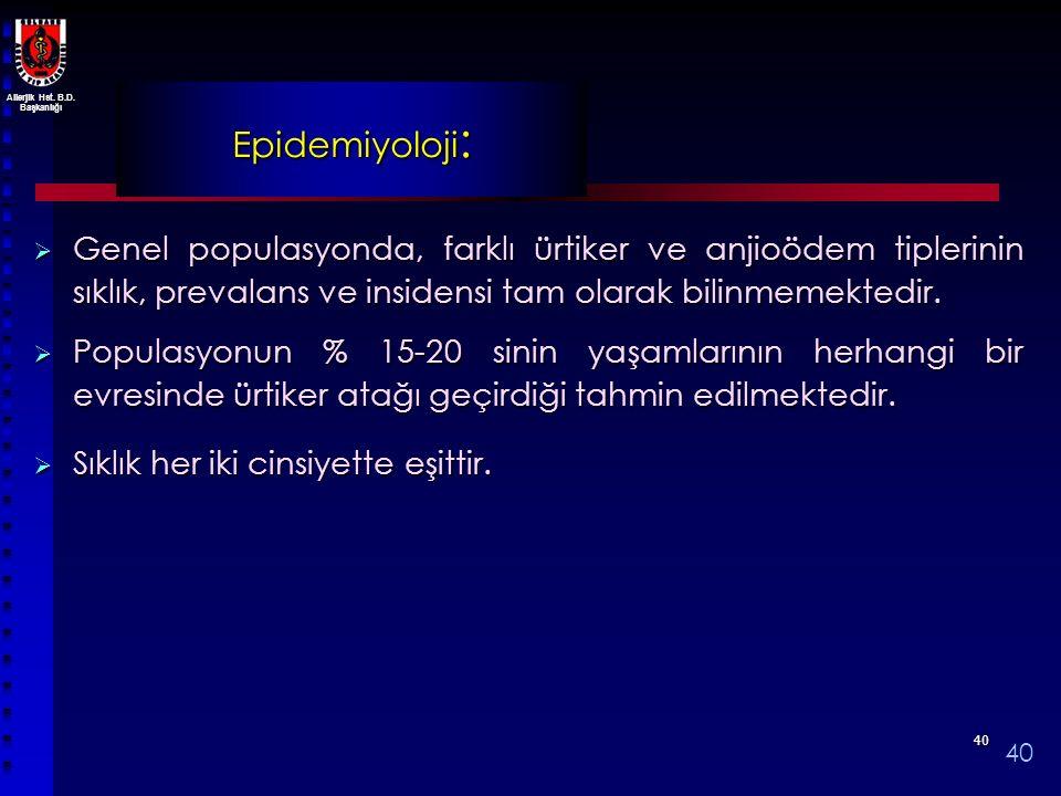 Allerjik Hst. B.D. Başkanlığı 4040 Epidemiyoloji :  Genel populasyonda, farklı ürtiker ve anjioödem tiplerinin sıklık, prevalans ve insidensi tam ola