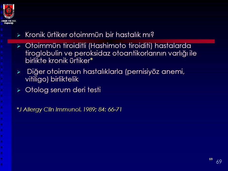 Allerjik Hst. B.D. Başkanlığı 6969  Kronik ürtiker otoimmün bir hastalık mı?  Otoimmün tiroiditli (Hashimoto tiroiditi) hastalarda tiroglobulin ve p