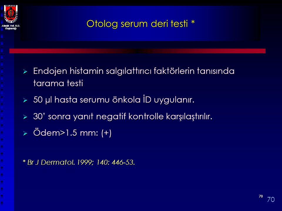 Allerjik Hst. B.D. Başkanlığı 7070 Otolog serum deri testi *  Endojen histamin salgılattırıcı faktörlerin tanısında tarama testi  50 µl hasta serumu