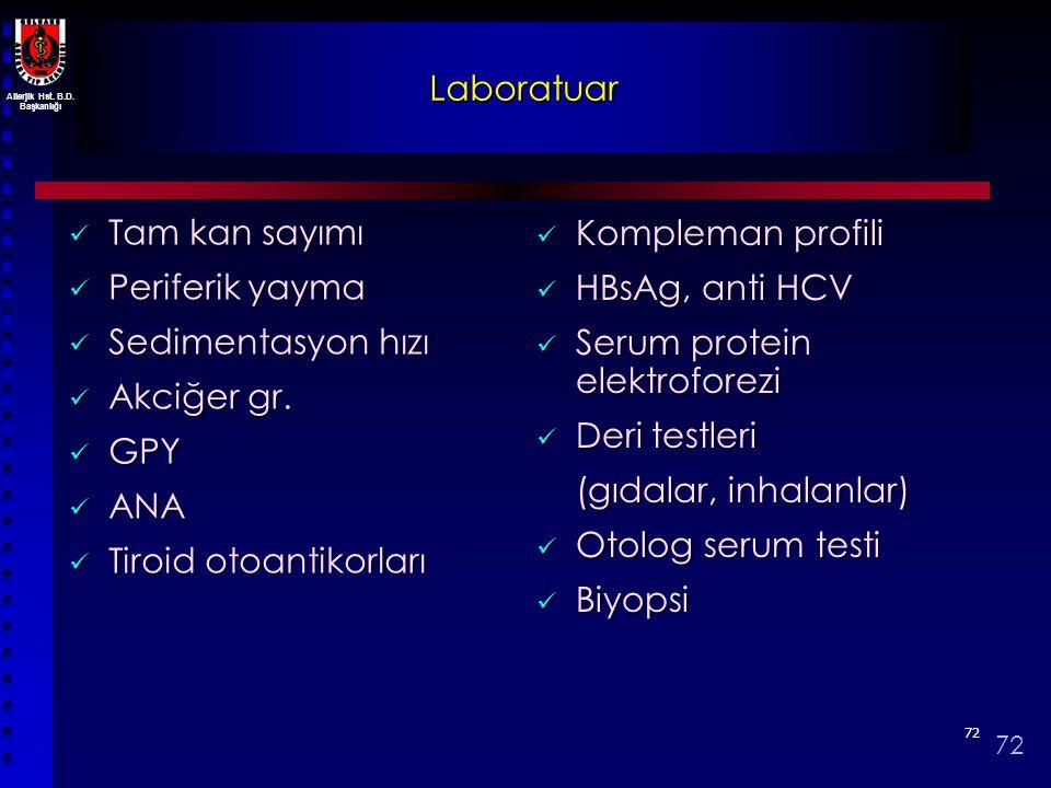 Allerjik Hst. B.D. Başkanlığı 7272 Laboratuar Tam kan sayımı Tam kan sayımı Periferik yayma Periferik yayma Sedimentasyon hızı Sedimentasyon hızı Akci