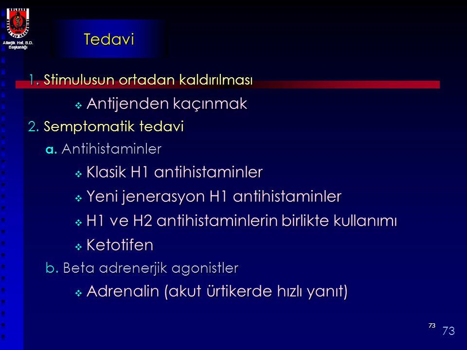 Allerjik Hst. B.D. Başkanlığı 7373 Tedavi 1. Stimulusun ortadan kaldırılması  Antijenden kaçınmak 2. Semptomatik tedavi a. Antihistaminler  Klasik H