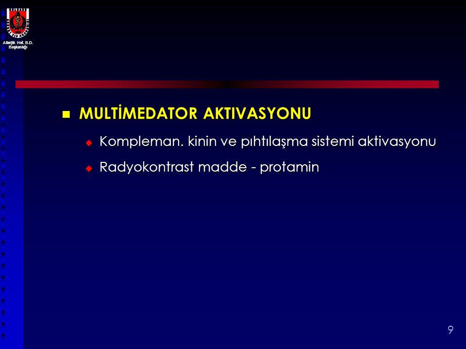 Allerjik Hst. B.D. Başkanlığı 9 MULTİMEDATOR AKTIVASYONU MULTİMEDATOR AKTIVASYONU  Kompleman. kinin ve pıhtılaşma sistemi aktivasyonu  Radyokontrast