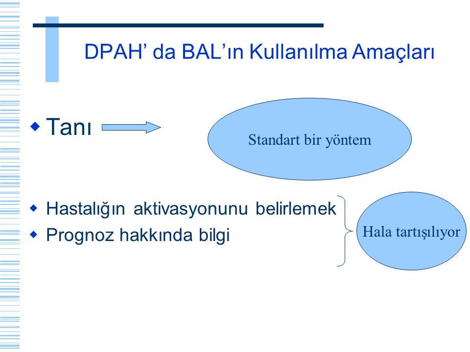 DPAH' da BAL'ın Kullanılma Amaçları  Tanı  Hastalığın aktivasyonunu belirlemek  Prognoz hakkında bilgi Hala tartışılıyor Standart bir yöntem