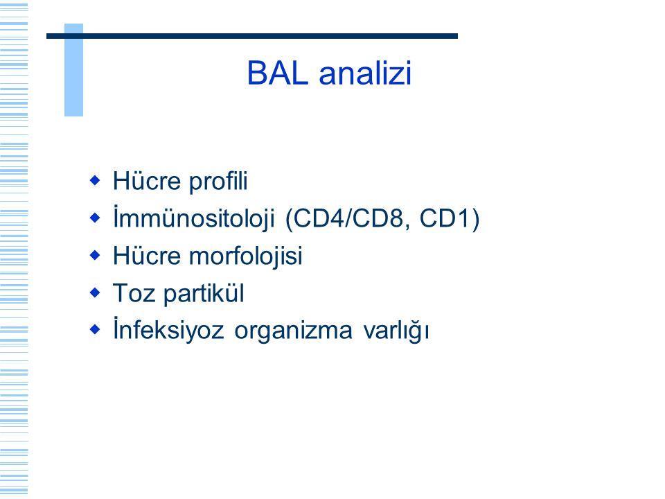 BAL analizi  Hücre profili  İmmünositoloji (CD4/CD8, CD1)  Hücre morfolojisi  Toz partikül  İnfeksiyoz organizma varlığı