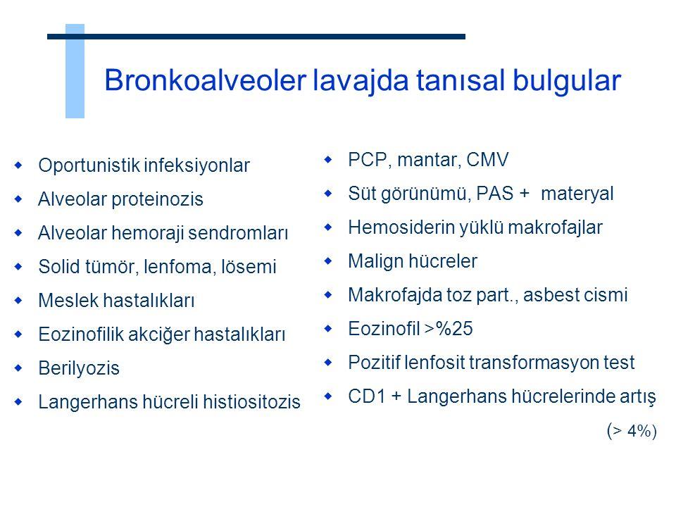 Bronkoalveoler lavajda tanısal bulgular  Oportunistik infeksiyonlar  Alveolar proteinozis  Alveolar hemoraji sendromları  Solid tümör, lenfoma, lö