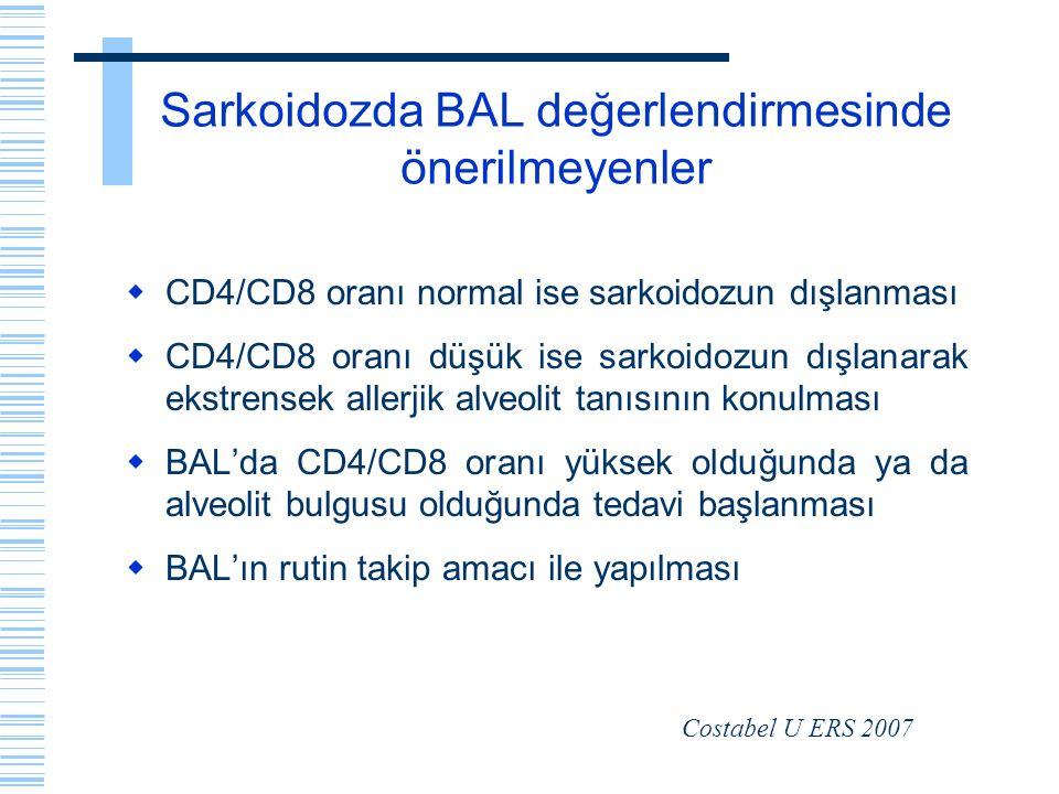 Sarkoidozda BAL değerlendirmesinde önerilmeyenler  CD4/CD8 oranı normal ise sarkoidozun dışlanması  CD4/CD8 oranı düşük ise sarkoidozun dışlanarak e