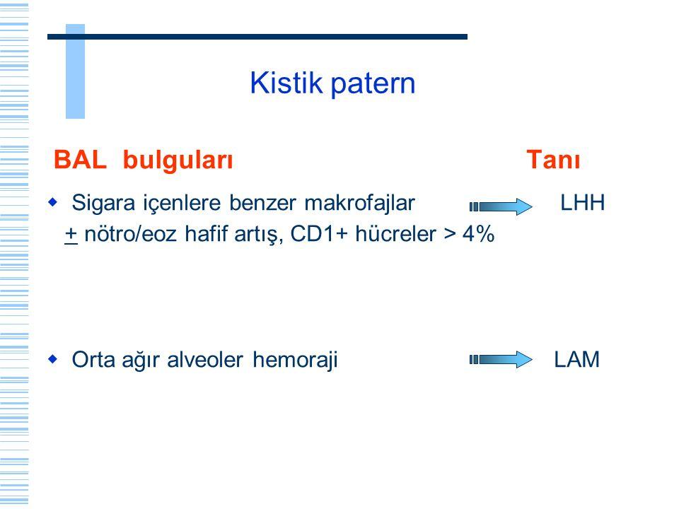 Kistik patern BAL bulguları Tanı  Sigara içenlere benzer makrofajlar LHH + nötro/eoz hafif artış, CD1+ hücreler > 4%  Orta ağır alveoler hemoraji LA