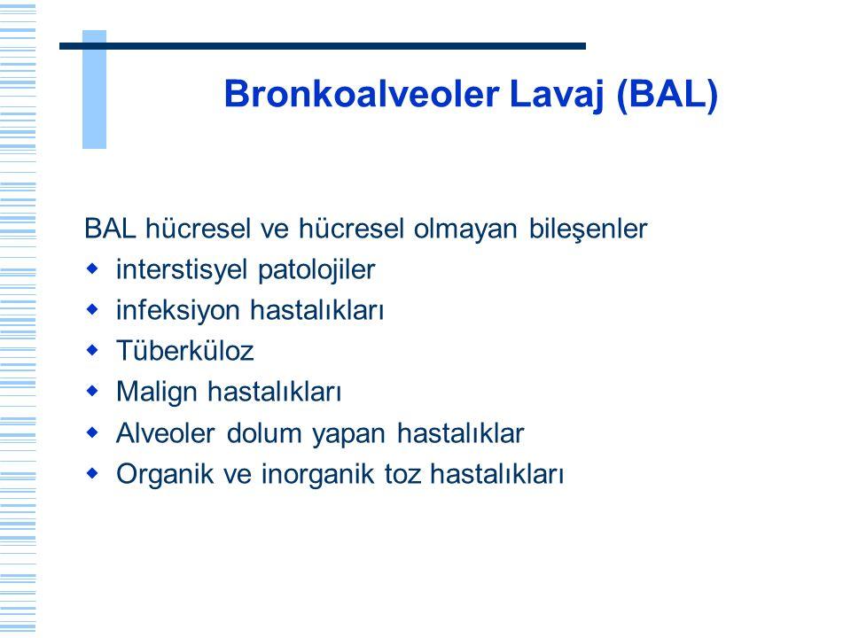 BAL incelemesi  BAL sıvısı önce santrifüj edilir  Sıvının süpernatanı BAL'ın hücre dışı komponentleri örneğin tümör belirleyiciler, immünoglobulinler, adenozin deaminaz gibi enfeksiyöz ajan belirleyiciler, sitokin çalışması, sigara içimine bağlı metabolitler ve benzeri çalışmalar için 2ml.lik ependorf tüplere ayrılabilir  Eğer çalışmalar iki ay gibi kısa bir sürede yapılması planlanıyorsa -20 O C, daha sonra çalışma yapılacaksa -70 O C ısısında olan derin dondurucularda saklanmaları gerekir