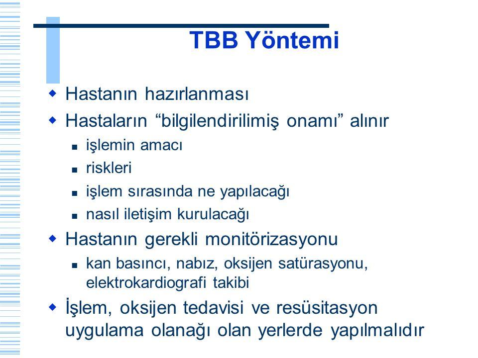 """TBB Yöntemi  Hastanın hazırlanması  Hastaların """"bilgilendirilimiş onamı"""" alınır işlemin amacı riskleri işlem sırasında ne yapılacağı nasıl iletişim"""