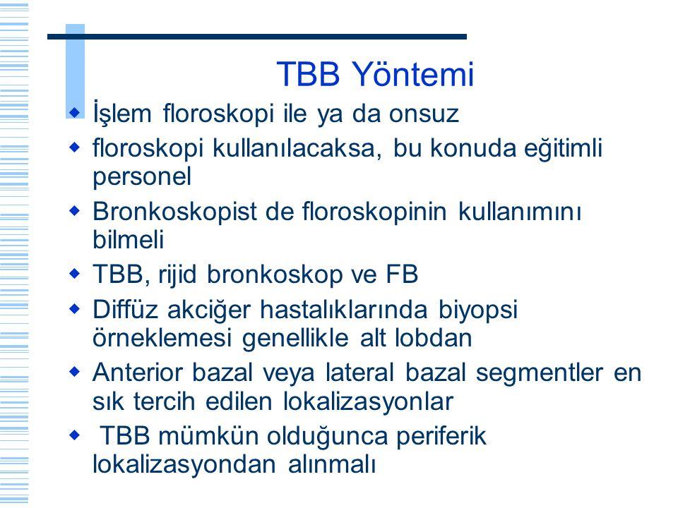 TBB Yöntemi  İşlem floroskopi ile ya da onsuz  floroskopi kullanılacaksa, bu konuda eğitimli personel  Bronkoskopist de floroskopinin kullanımını b