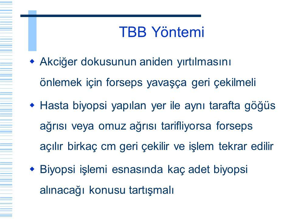 TBB Yöntemi  Akciğer dokusunun aniden yırtılmasını önlemek için forseps yavaşça geri çekilmeli  Hasta biyopsi yapılan yer ile aynı tarafta göğüs ağr