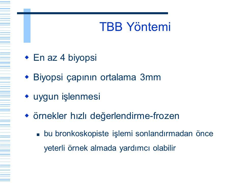 TBB Yöntemi  En az 4 biyopsi  Biyopsi çapının ortalama 3mm  uygun işlenmesi  örnekler hızlı değerlendirme-frozen bu bronkoskopiste işlemi sonlandı