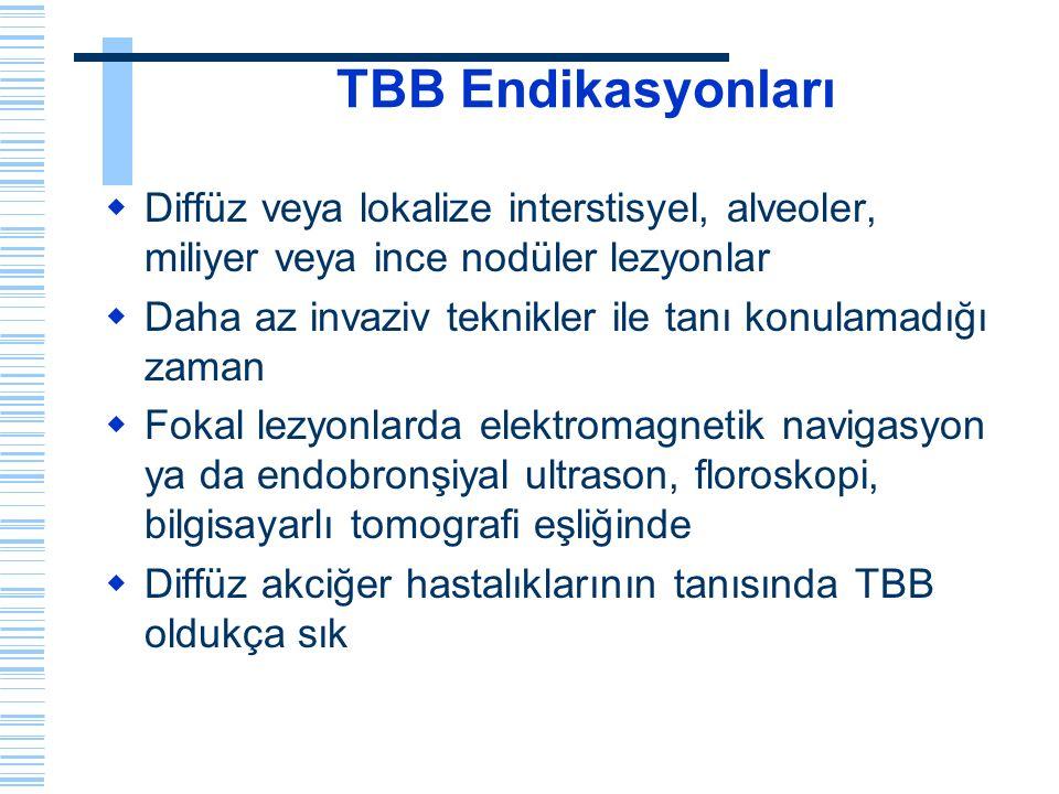 TBB Endikasyonları  Diffüz veya lokalize interstisyel, alveoler, miliyer veya ince nodüler lezyonlar  Daha az invaziv teknikler ile tanı konulamadığ