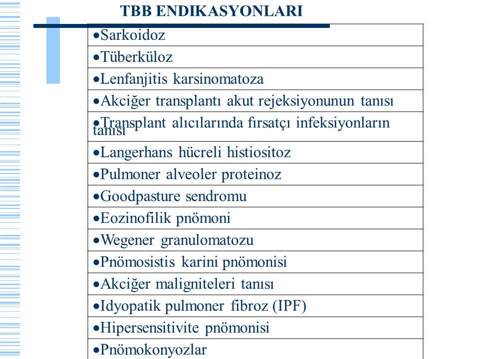  Sarkoidoz  Tüberküloz  Lenfanjitis karsinomatoza  Akciğer transplantı akut rejeksiyonunun tanısı  Transplant alıcılarında fırsatçı infeksiyonlar