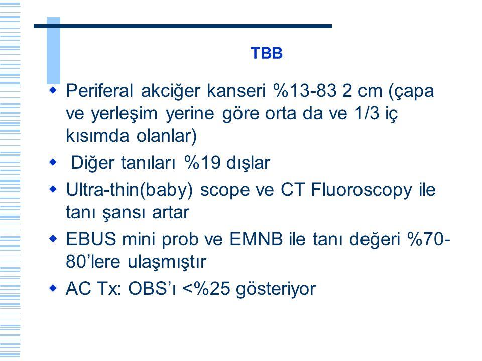 TBB  Periferal akciğer kanseri %13-83 2 cm (çapa ve yerleşim yerine göre orta da ve 1/3 iç kısımda olanlar)  Diğer tanıları %19 dışlar  Ultra-thin(