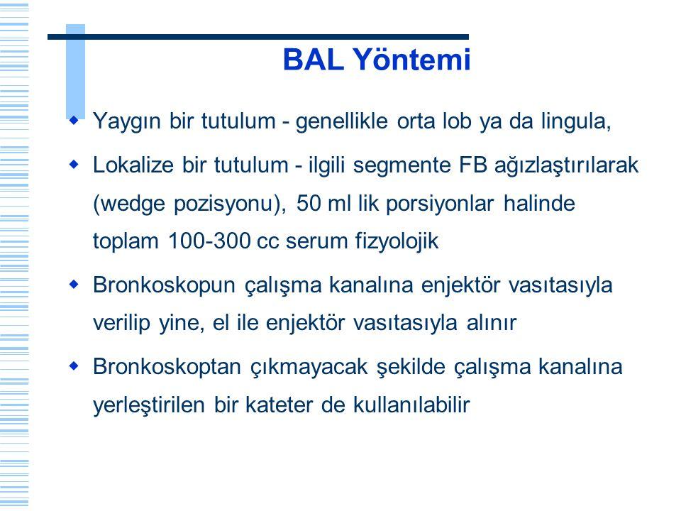 Buzlu cam paterni BAL bulguları  Lenfositoz > 50% Total hücre sayısı yüksek  Eozinofil > 25%  Pneumocystis carinii P.