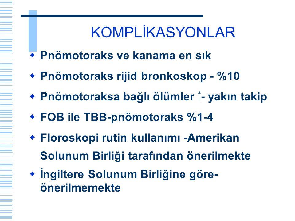 KOMPLİKASYONLAR  Pnömotoraks ve kanama en sık  Pnömotoraks rijid bronkoskop - %10  Pnömotoraksa bağlı ölümler - yakın takip  FOB ile TBB-pnömotora