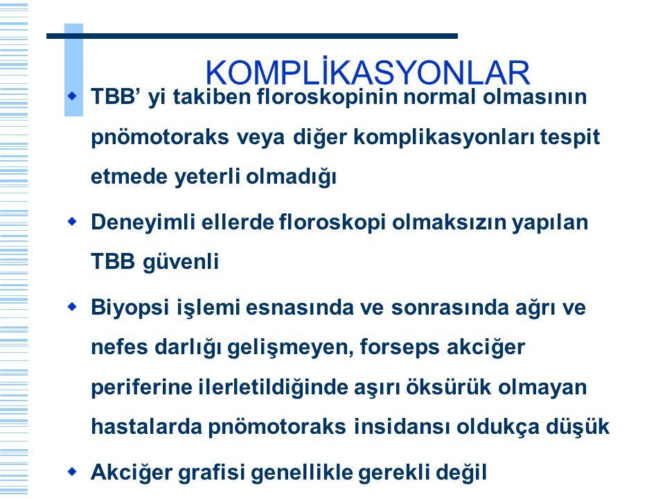 KOMPLİKASYONLAR  TBB' yi takiben floroskopinin normal olmasının pnömotoraks veya diğer komplikasyonları tespit etmede yeterli olmadığı  Deneyimli el