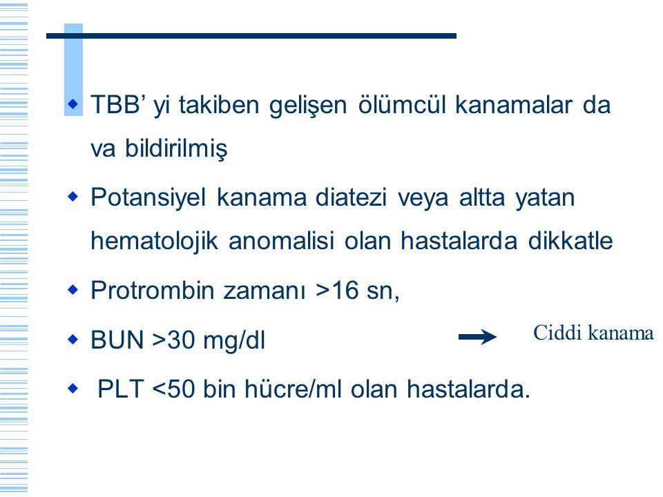  TBB' yi takiben gelişen ölümcül kanamalar da va bildirilmiş  Potansiyel kanama diatezi veya altta yatan hematolojik anomalisi olan hastalarda dikka