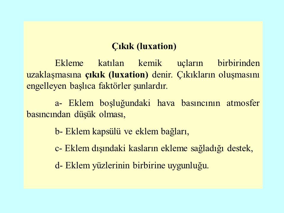 Çıkık (luxation) Ekleme katılan kemik uçların birbirinden uzaklaşmasına çıkık (luxation) denir.