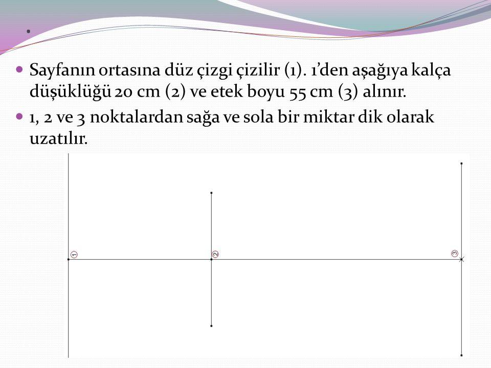 1 noktasında; Bel 1\6= 11,6 cm sağa 5,3 cm (4) ve sola 5,3 cm (5)işaretlenir.