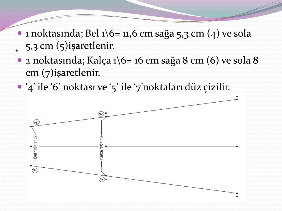 Belde '4' ve '5' den yukarıya 0,5 cm çıkılır.Bu çıkılan noktalar ile '1' noktası kavisli çizilir.