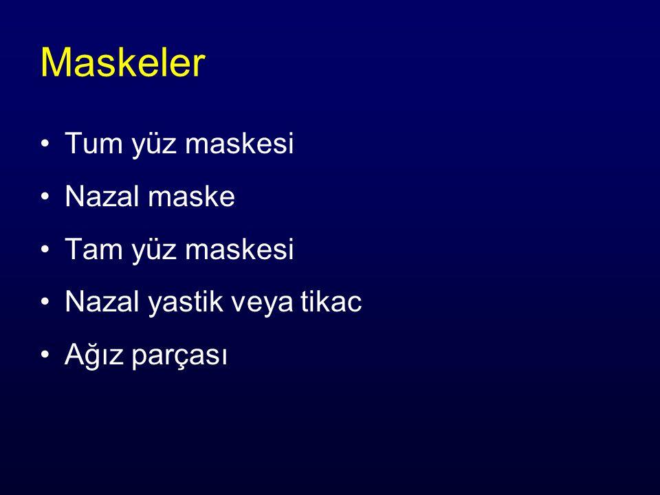 Maskeler Tum yüz maskesi Nazal maske Tam yüz maskesi Nazal yastik veya tikac Ağız parçası