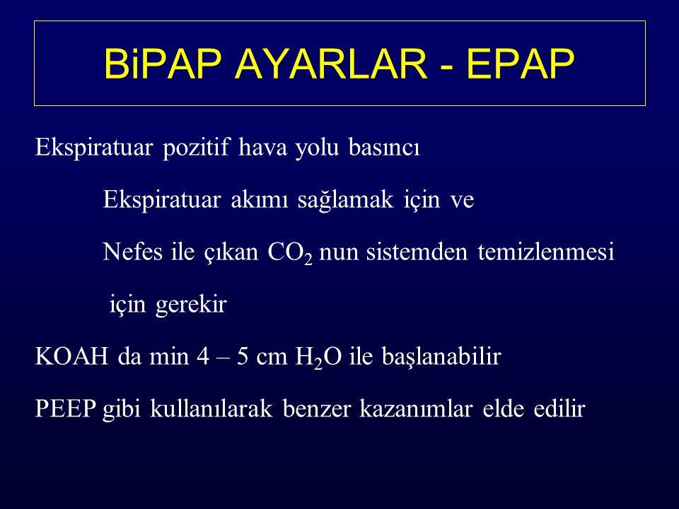 BiPAP AYARLAR - EPAP Ekspiratuar pozitif hava yolu basıncı Ekspiratuar akımı sağlamak için ve Nefes ile çıkan CO 2 nun sistemden temizlenmesi için gerekir KOAH da min 4 – 5 cm H 2 O ile başlanabilir PEEP gibi kullanılarak benzer kazanımlar elde edilir