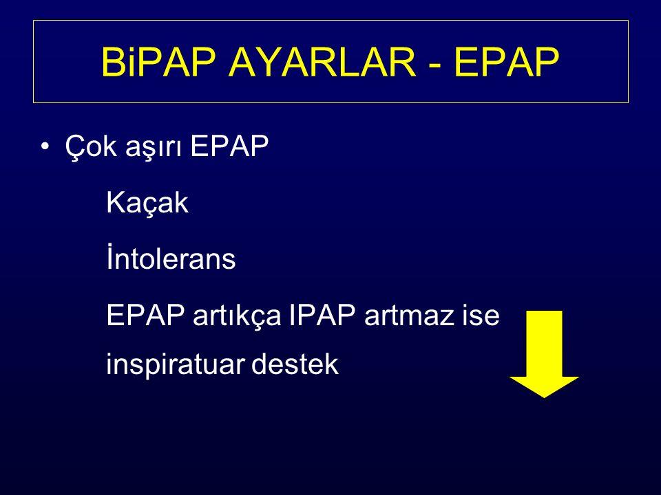Çok aşırı EPAP Kaçak İntolerans EPAP artıkça IPAP artmaz ise inspiratuar destek BiPAP AYARLAR - EPAP