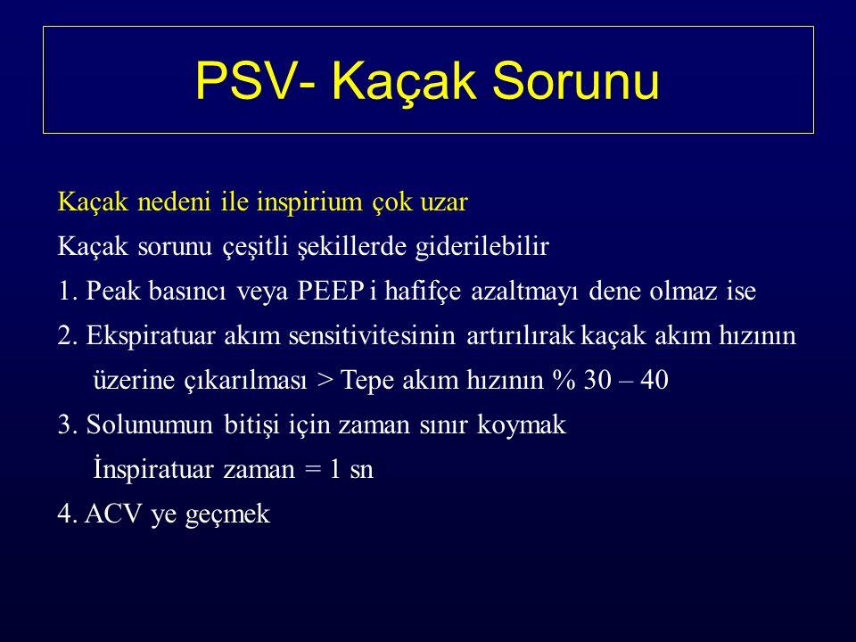 PSV- Kaçak Sorunu Kaçak nedeni ile inspirium çok uzar Kaçak sorunu çeşitli şekillerde giderilebilir 1.