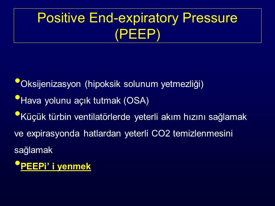 Positive End-expiratory Pressure (PEEP) Oksijenizasyon (hipoksik solunum yetmezliği) Hava yolunu açık tutmak (OSA) Küçük türbin ventilatörlerde yeterli akım hızını sağlamak ve expirasyonda hatlardan yeterli CO2 temizlenmesini sağlamak PEEPi' i yenmek
