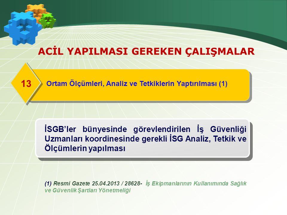 Ortam Ölçümleri, Analiz ve Tetkiklerin Yaptırılması (1) 13 ACİL YAPILMASI GEREKEN ÇALIŞMALAR İSGB'ler bünyesinde görevlendirilen İş Güvenliği Uzmanları koordinesinde gerekli İSG Analiz, Tetkik ve Ölçümlerin yapılması (1) Resmi Gazete 25.04.2013 / 28628- İş Ekipmanlarının Kullanımında Sağlık ve Güvenlik Şartları Yönetmeliği