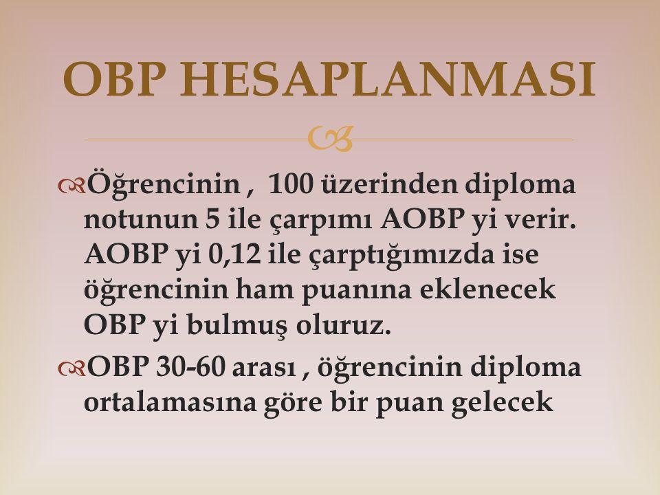   Öğrencinin, 100 üzerinden diploma notunun 5 ile çarpımı AOBP yi verir. AOBP yi 0,12 ile çarptığımızda ise öğrencinin ham puanına eklenecek OBP yi