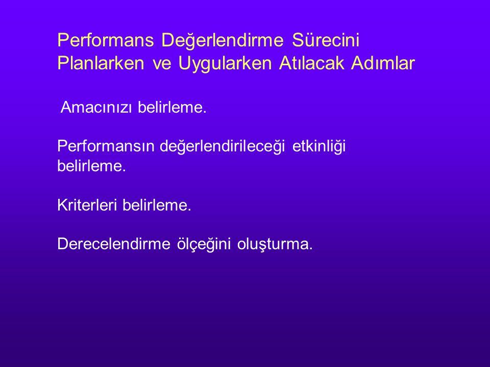 Performans Değerlendirme Sürecini Planlarken ve Uygularken Atılacak Adımlar Amacınızı belirleme. Performansın değerlendirileceği etkinliği belirleme.