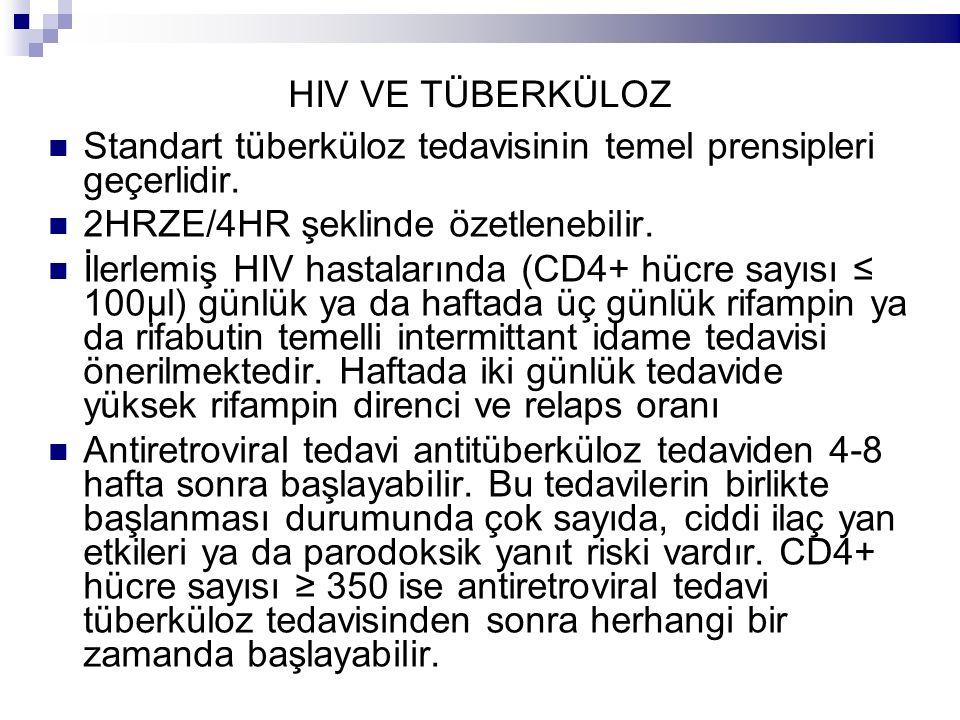 HIV VE TÜBERKÜLOZ Standart tüberküloz tedavisinin temel prensipleri geçerlidir. 2HRZE/4HR şeklinde özetlenebilir. İlerlemiş HIV hastalarında (CD4+ hüc