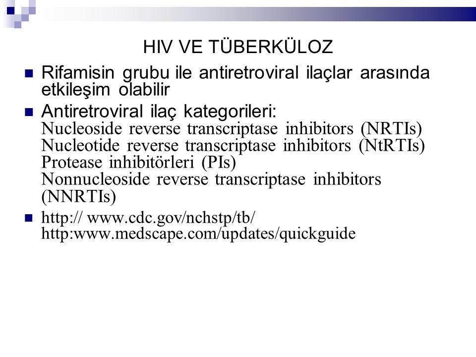HIV VE TÜBERKÜLOZ Rifamisin grubu ile antiretroviral ilaçlar arasında etkileşim olabilir Antiretroviral ilaç kategorileri: Nucleoside reverse transcriptase inhibitors (NRTIs) Nucleotide reverse transcriptase inhibitors (NtRTIs) Protease inhibitörleri (PIs) Nonnucleoside reverse transcriptase inhibitors (NNRTIs) http:// www.cdc.gov/nchstp/tb/ http:www.medscape.com/updates/quickguide