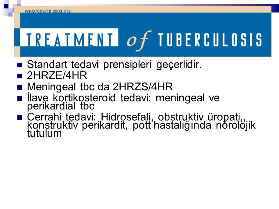 Standart tedavi prensipleri geçerlidir. 2HRZE/4HR Meningeal tbc da 2HRZS/4HR İlave kortikosteroid tedavi: meningeal ve perikardial tbc Cerrahi tedavi:
