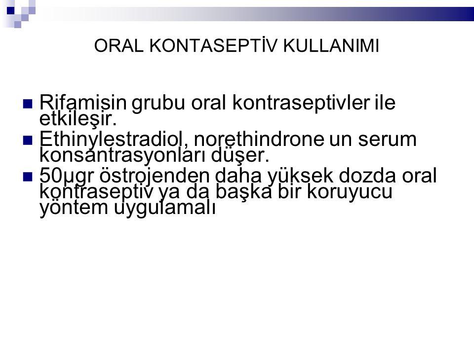 ORAL KONTASEPTİV KULLANIMI Rifamisin grubu oral kontraseptivler ile etkileşir. Ethinylestradiol, norethindrone un serum konsantrasyonları düşer. 50µgr