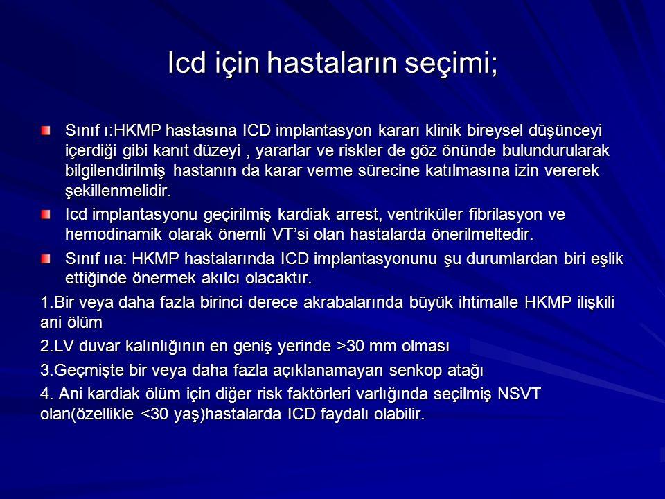 Icd için hastaların seçimi; Sınıf ı:HKMP hastasına ICD implantasyon kararı klinik bireysel düşünceyi içerdiği gibi kanıt düzeyi, yararlar ve riskler d