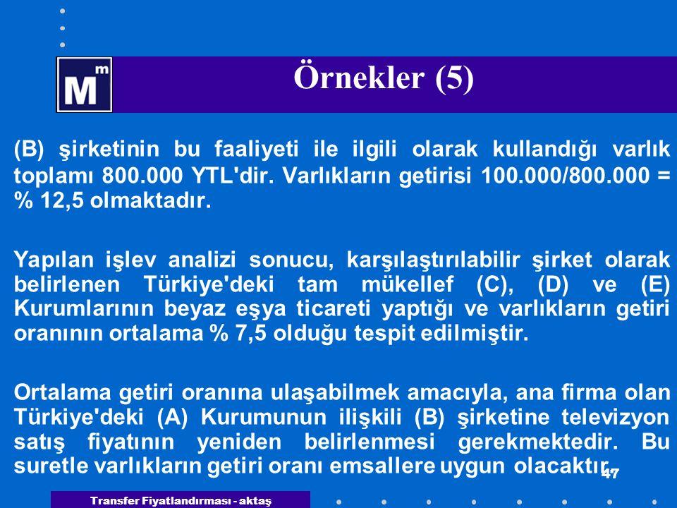 Transfer Fiyatlandırması - aktaş 47 Örnekler (5) (B) şirketinin bu faaliyeti ile ilgili olarak kullandığı varlık toplamı 800.000 YTL'dir. Varlıkların