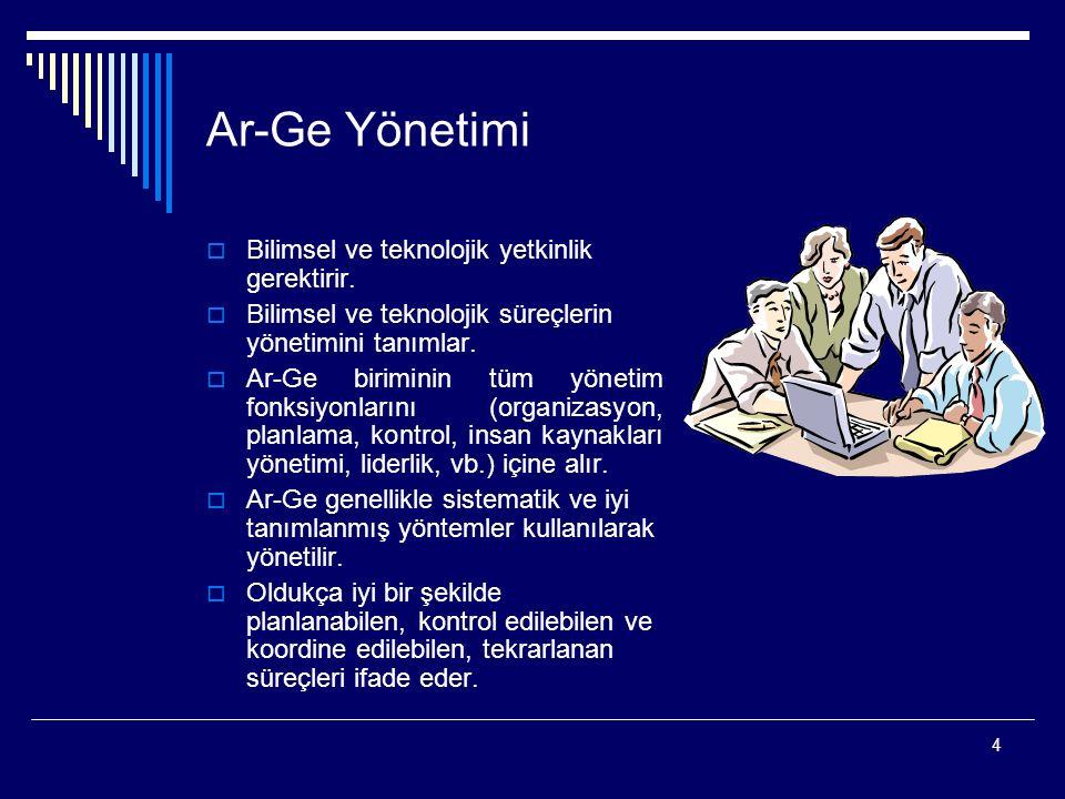 4 Ar-Ge Yönetimi  Bilimsel ve teknolojik yetkinlik gerektirir.  Bilimsel ve teknolojik süreçlerin yönetimini tanımlar.  Ar-Ge biriminin tüm yönetim
