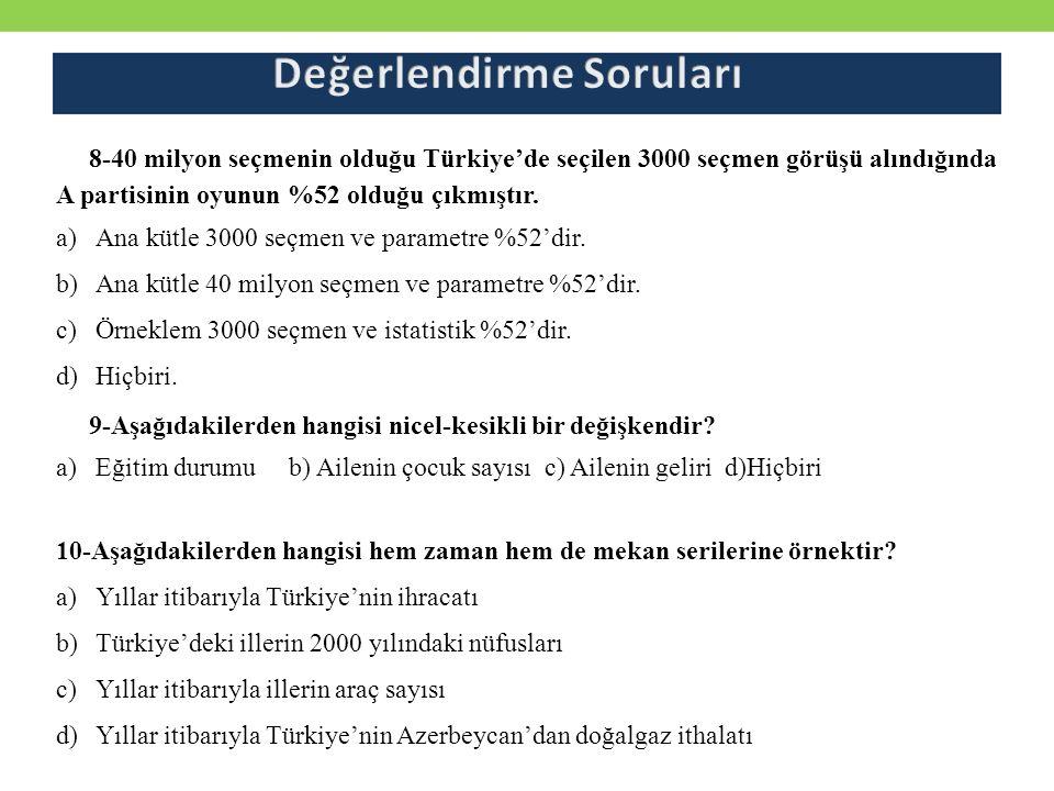 8-40 milyon seçmenin olduğu Türkiye'de seçilen 3000 seçmen görüşü alındığında A partisinin oyunun %52 olduğu çıkmıştır. a)Ana kütle 3000 seçmen ve par