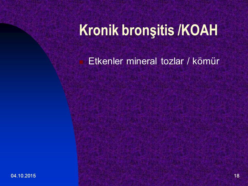 04.10.201518 Kronik bronşitis /KOAH Etkenler mineral tozlar / kömür