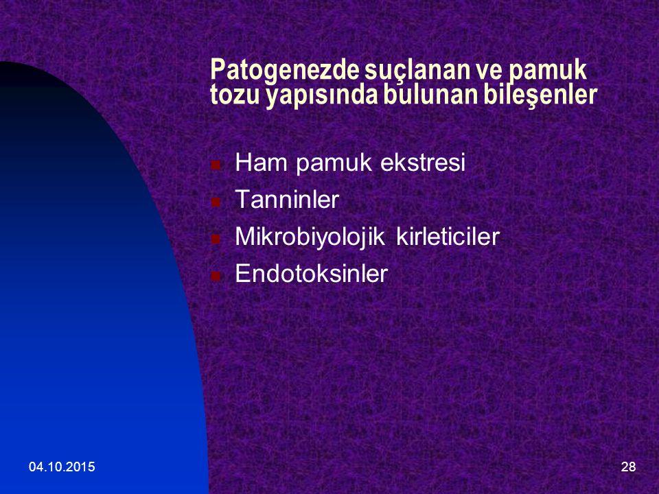 04.10.201528 Patogenezde suçlanan ve pamuk tozu yapısında bulunan bileşenler Ham pamuk ekstresi Tanninler Mikrobiyolojik kirleticiler Endotoksinler
