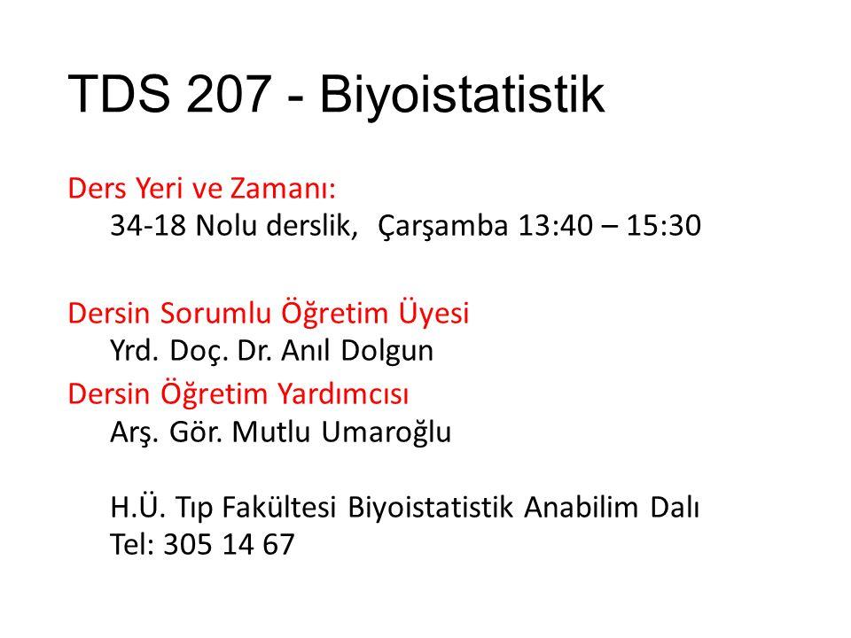 TDS 207 - Biyoistatistik Ders Yeri ve Zamanı: 34-18 Nolu derslik, Çarşamba 13:40 – 15:30 Dersin Sorumlu Öğretim Üyesi Yrd.