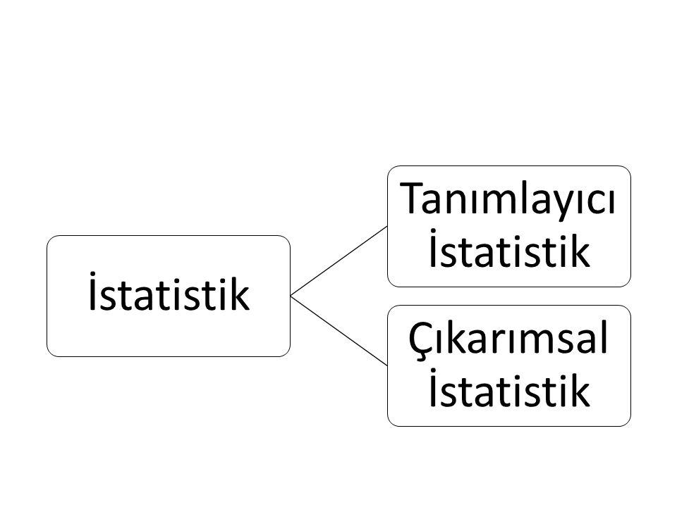 Tanımlar Tanımlayıcı istatistik: Verilerin özetlenmesi, sınıflandırılması, tablo ve grafiklerle sunulmasını içerir.