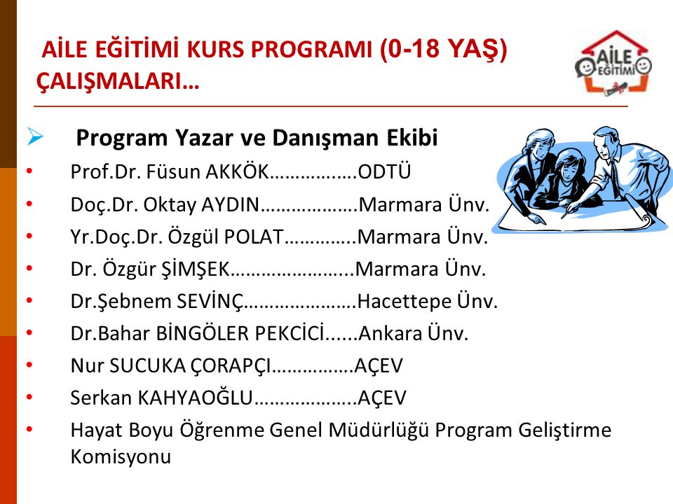  Program Yazar ve Danışman Ekibi Prof.Dr. Füsun AKKÖK………….….ODTÜ Doç.Dr. Oktay AYDIN……………….Marmara Ünv. Yr.Doç.Dr. Özgül POLAT…………..Marmara Ünv. Dr.